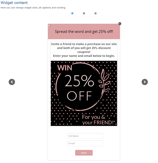 Goal based rewards campaign Widget customization