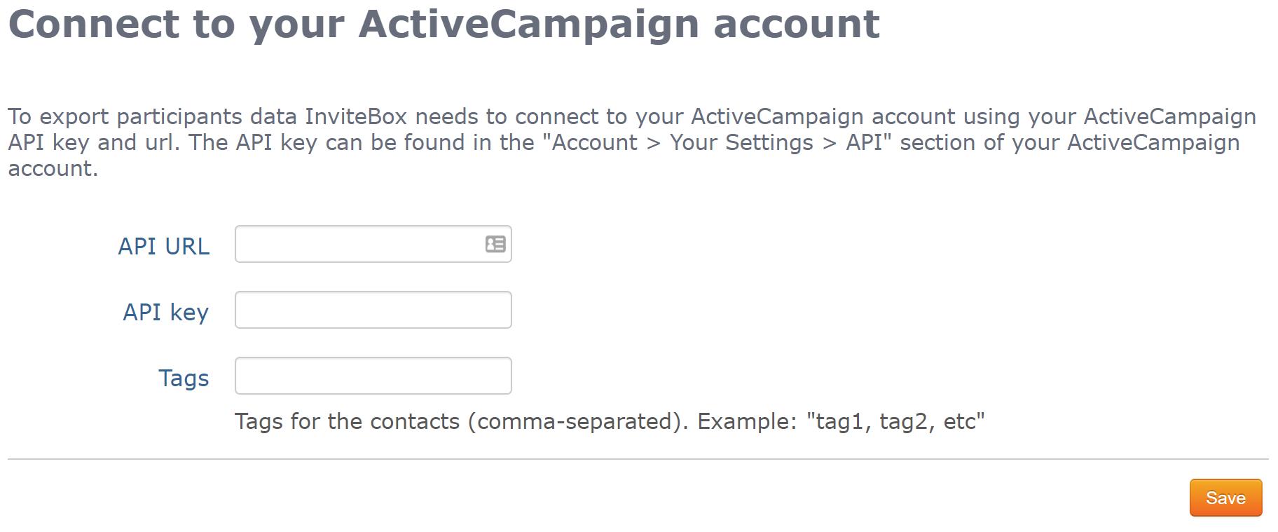 ActiveCampaign URL + Key form