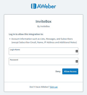 Aweber login - InviteBox Integration