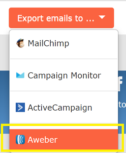 Export emails Aweber